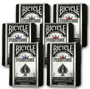 6 Boxed Decks Red And Blue Bicycle Prestige Poker Playing Cards 100 Plastic New