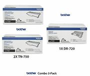 New 3 Pack Genuine Oem Brother Tn-750 Toner And Dr-720 Drum Sealed