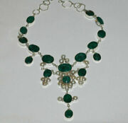Antique Style 248ct Natural Green Saphire And Pearl Silver Necklace Gla Certified