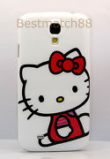 For Samsung Galaxy S4 Withe W/ Hot Pink Bow Cute Kitten Hello Kitty Case Cover