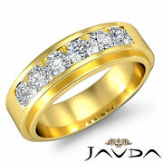 Channel Set Diamond Mens Lustrous Wedding Band 18k Yellow Gold 8.5mm Ring 0.9ct