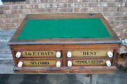 Antique Oak Spool Cabinet J And P Coats Store Desk Counter Top 4 Drawers