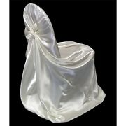 100 Satin Universal Fit Self Tie Bow Chair Covers Event Banquet Folding Plastic