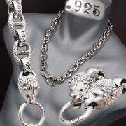 32 354g Lion King Heavy Curb 925 Sterling Silver Mens Biker Necklace Chain Pre