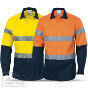3 X Hi Vis Day And Night Reflective Vented Cotton Drill Safety Work Shirts Xs-5xl