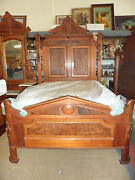 Antique Bedroom Set Full Size Bed Mirrored Marble Top Dresser And Wash Stand