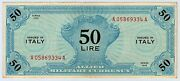 1943 Series Allied Military Currency 50 Lire Note Ex. Scarce Must See