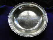 South American Dish Sterling Silver 1900 Large Size Peru Marked. Rustic