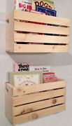 2 Lg Crate Style Book Shelves Shelf-kids-rustic Crates Wall Mount- Pinterest