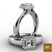 Halo Asscher Diamond Filigree Engagement French U Pave Set Ring Gia H Vs1 0.70ct