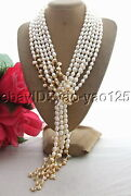 3 Rows 49 White Rice Pearl Champagne Keshi Pearl Necklace Long Necklace