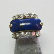 Estate 14k Gold Blue Lapis And Diamond Ring Band Style Size 7 Make Offer