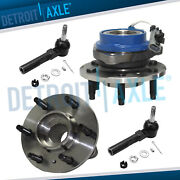 New 4 Pc Kit 2 Front Wheel Hub And Bearing Assembly Abs 6 Bolt + 2 Outer Tie Rod