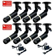8x Security Bullet Cameras W/ Sony Ccd Weatherproof Home Indoor Power Supply Mzb