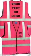 Hi Vis Pink Printed Personalised Safety Vest Reflective Waistcoat Party Hen