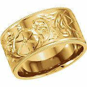 14 Kt Yellow Gold Hand Engraved Floral Design Wide Cigar Band Ring New Size 8
