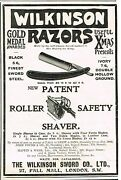 Wilkinson Razors - Roller Safety Antique Advertsing In Penny Paper - 1889