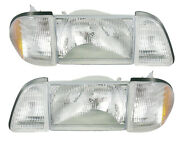 1987-1993 Ford Mustang Gt Lx Stock Headlights 6 Piece Set Amber Sides Sae/dot
