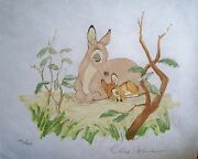 Disney Bambi Hand Signed Frank Thomas Ollie Johnston With Book And Coa