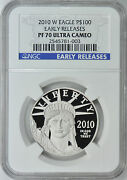 Platinum American Eagle Proof 2010-w 1oz Pf70 Ngc Early Release Perfect