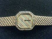 Lucien Piccard Ladies 3 Tone 14k Gold Watch With 35 Diamonds-7 Band