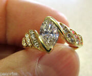 Incredible 18k Gold Vs1 Marquise And Round Diamond Ring Size 5 Make Offer