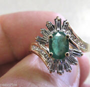 Beautiful High Quality Emerald And Diamond Ring 14k Gold Size 7 Make Offer