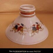 Scarce Boston And Sandwich Hand Painted Autumn Leaves Cone Student Lamp Shade