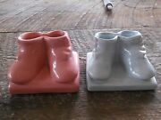 ** Pair Baby Blue / Pink Boy Girl Small Vintage Planters ** Shawnee Pottery USA