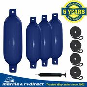 4 Boat Fender 6.5 X 23 Vinyl Ribbed Bumpers Dock Shield Protection Navy Blue