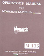 Monarch Series 60, Engine And Tool Makers Lathe, Operations Parts Lubes, Manual
