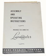 Lapmaster 12c And 15c, Lapping Machine, Operating Instructions Manual