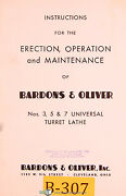 Bardons And Oliver 3 5 And 7 Turret Lathe Operations And Maintenance Manual 1952