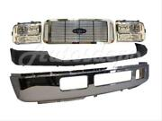 For 05-07 Ford Super Duty F250 F350 Front Bumper Chr Cap Grille Chrome Headlight