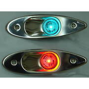 Pair Of Led Flush Mount Stainless Steel Red And Green Bow Navigation Lights
