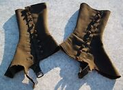 Antique Victorian 9 Button Spats Gaiters Leggings Green Wool Army Mens Womens