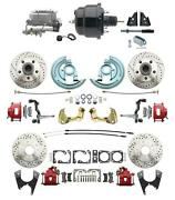 Gm 1964-72 A-body Car Front And Rear Disc Brake 8 Booster Conversion Red Calipers