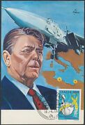 Italy 1613 On Ronald Reagan Postcard With Signature Bs214