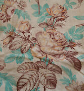 Antique French Roses Sunflower Floral Toile Cotton Fabric Aqua Eggplant Yellow