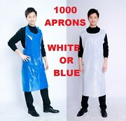 1000 X White Or Blue Disposable Polythene Plastic Aprons - 10 Packs Of 100 Uk