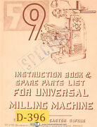 Dufour Gaston No. 59, Universal Milling Machine, Instructions And Parts Manual