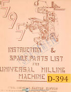 Dufour Gaston No. 595, Universal Milling Machine, Instructions And Parts Manual