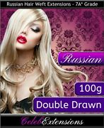 Double Drawn 100g Russian 100 Human Hair Extensions Weft Weave 18 20 22 24