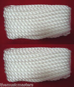 2 White Twisted 3 Strand 3/8 X 20and039 Ft Hq Boat Marine Dock Lines Mooring Ropes