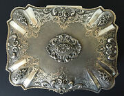 Antique 800 Silver Ornate Floral Repousse Footed Trinket Jewelry Box 1032 Grams