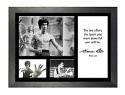 Bruce Lee 19 Famous Quote Martial Arts Legend Kung Fu Signed Picture Poster
