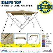 Bimini Top Boat Cover 46 High 3 Bow 79-84 Wide 6and039 L Beige W/ Rear Poles