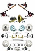 1964-72 Gm A Body Front/rear Power Disc Brake Kit Black Calipers And Control Arms