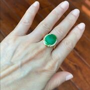 14k Solid Real Yellow Gold Oval Green Jade Women Ring - Size 6.5 - R10