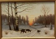 Russian Oil Painting Winter Early 20th Century Signed And Framed